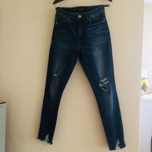 LUCKY BRAND DISTRESSED CROPPED JEGGING